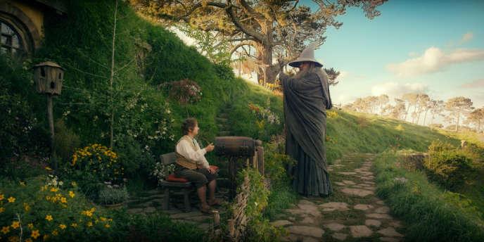 Bilbo le hobbit (Martin Freeman) face à Gandalf (Ian McKellen) dans le film américain et néo-zélandais de Peter Jackson,