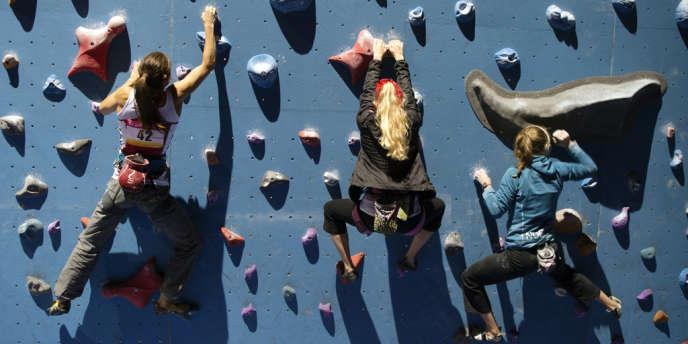 Au palais omnisports de Bercy, à Paris, durant les championnats du monde d'escalade, en septembre.