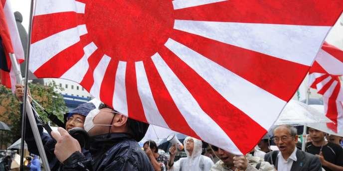 Une manifestation du groupe d'extrême droite Zaitokukai, le 23 septembre, à Tokyo.