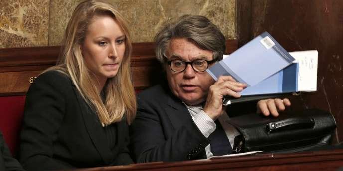 Marion Maréchal-Le Pen et Gilbert Collard, à l'Assemblée nationale, le 28 novembre 2012.