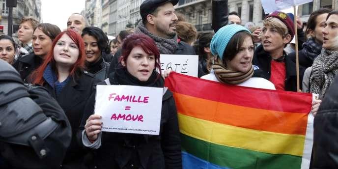 Des manifestants pro-mariage gay, le 17 novembre, à Paris.