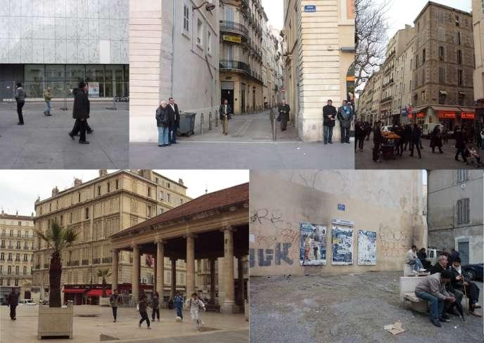 Montage de photos du quartier de Belsunce à Marseille.