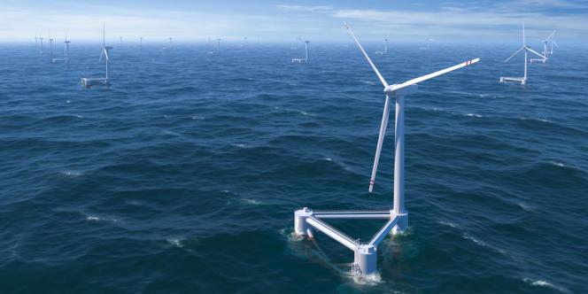 Le prototype Windfloat, au large du Portugal.