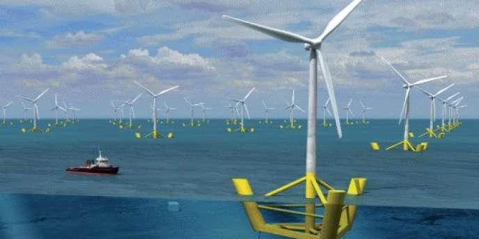 L'éolien flottant permet d'exploiter l'énergie cinétique du vent dans des zones où la profondeur d'eau est importante.