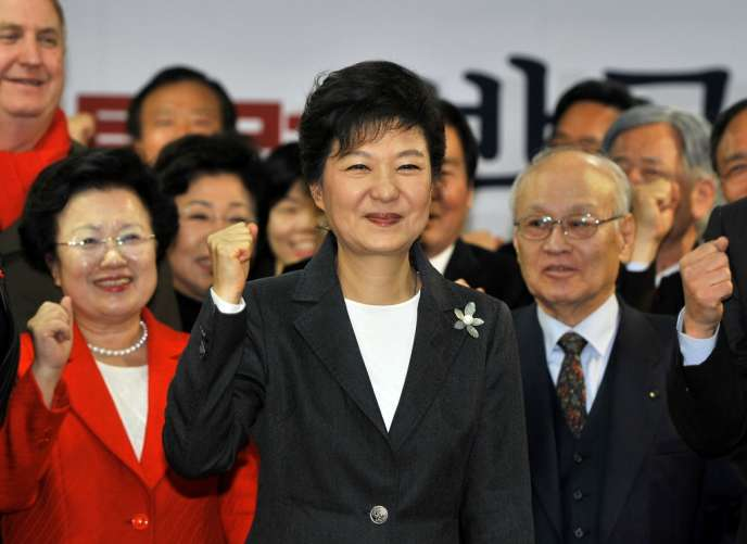 Park Geun-Hye, jeudi 20 décembre à Séoul, après l'annonce de sa victoire, au siège de son parti.