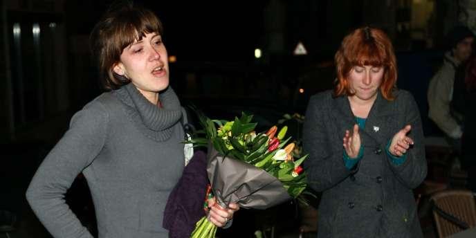 Aurore Martin à son arrivée à Saint-Jean Pied de Port samedi soir.