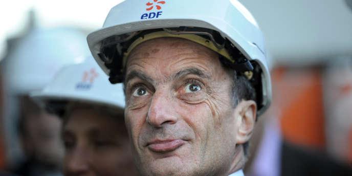 Henri Proglio, le PDG d'EDF, lors de l'inauguration d'un centre de production thermique, à Martigues (Bouches-du-Rhône), en novembre 2012.