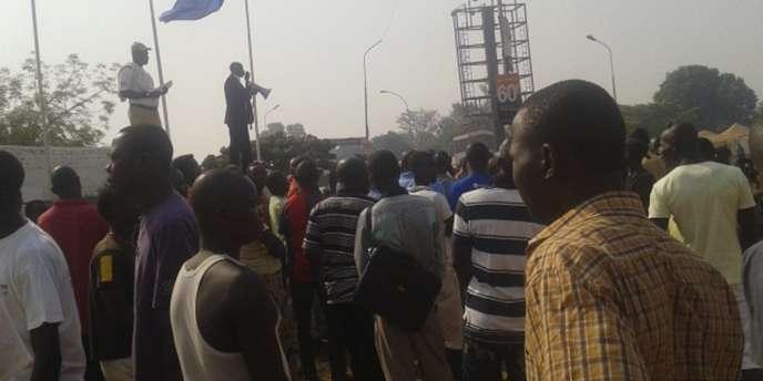 Manifestation devant l'ambassade de France, le 26 décembre à Bangui, capitale de Centrafrique.