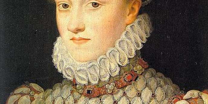 Détail du portrait d'Elisabeth d'Autriche, épouse de Charles IX et reine de France, peint par François Clouet, . Vers 1571, 36×26 cm, huile sur bois, coll. Musée du Louvre, Paris.
