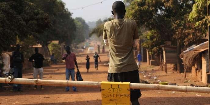 Barrage pour empêcher les rebelles d'entrer dans Bangui, le 1er janvier.
