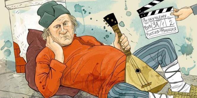 Caricature de Gérard Depardieu sur Facebook.