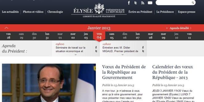 Capture d'écran du site de l'Elysée.