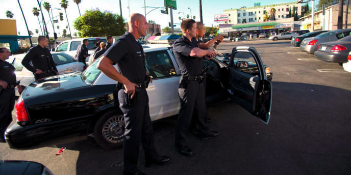 A Los Angeles, le dispositif a permis de réduire les agressions de 33 % en moins d'un an. Ici,  une unité  de la brigage antigang  de la ville.
