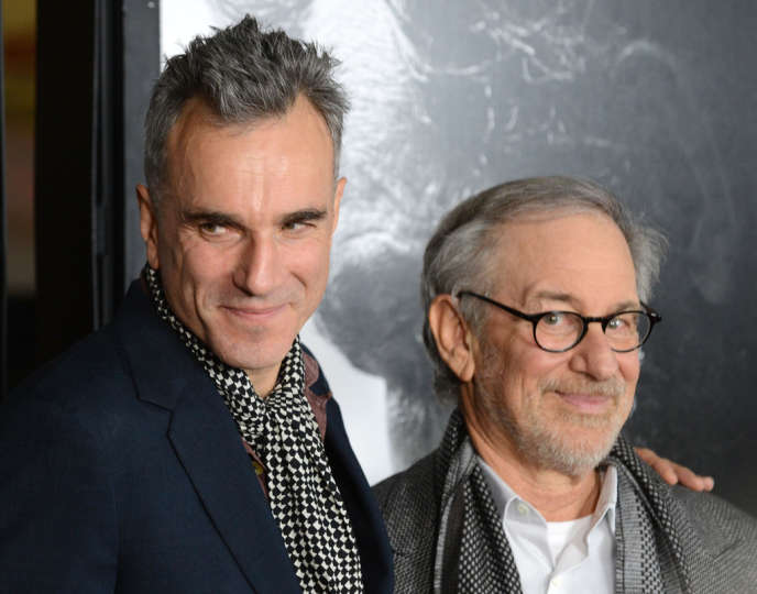 L'acteur Daniel Day-Lewis et le réalisateur Steven Spielberg lors de la projection du film