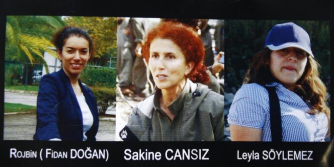 Les victimes des assassinats du 9 janvier 2013 : Fidan Dogan, présidente du Centre d'information kurde, Sakine Cansiz, une des fondatrices du PKK en 1978, et Leyla Saylemez, une jeune activiste.