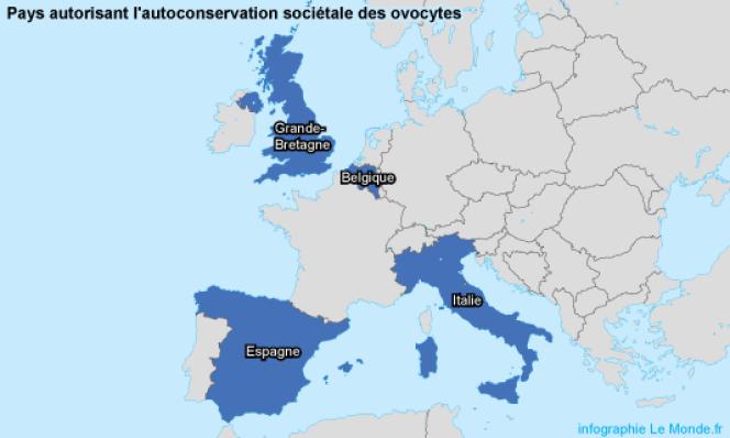 Les pays européens autorisant l'autoconservation sociétale des ovocytes