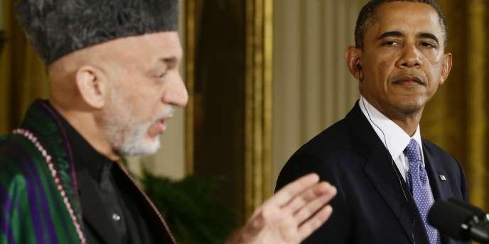 Le président américain, Barack Obama, et le président afghan, Hamid Karzaï, lors de leur conférence de presse commune à la Maison Blanche, vendredi 11 janvier.