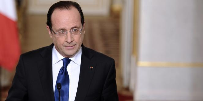 François Hollande lors d'une intervention à l'Elysée, samedi 12 janvier.