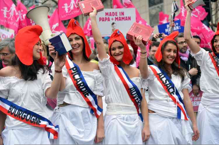 Protesters representing different French regions demonstrate dressed up as Marianne, a personification of the Republic, and holding civil codes during a march against same-sex marriage on January 13, 2013 in Paris. Tens of thousands march in Paris on January 13 to denounce government plans to legalise same-sex marriage and adoption which have angered many Catholics and Muslims, France's two main faiths, as well as the right-wing opposition. The French parliament is to debate the bill -- one of the key electoral pledges of Socialist President -- at the end of this month. AFP PHOTO /