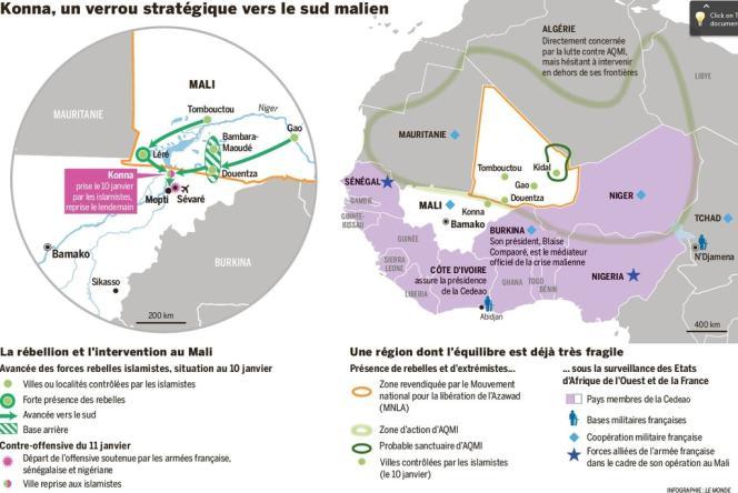 La carte des combats au Mali.
