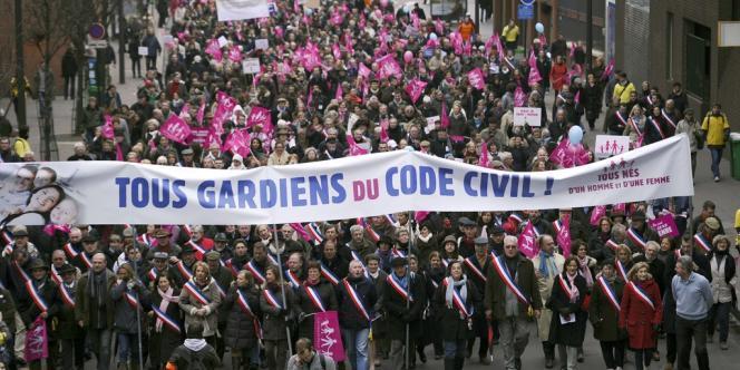 Le cortège de la Manif pour tous parti de la place d'Italie, le 13 janvier.