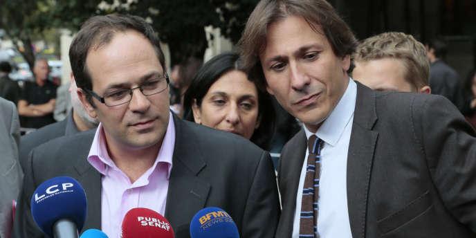Emmanuel Maurel et Jérôme Guedj arrivent au conseil national de synthèse du Parti socialiste, à Paris, le12septembre2012.