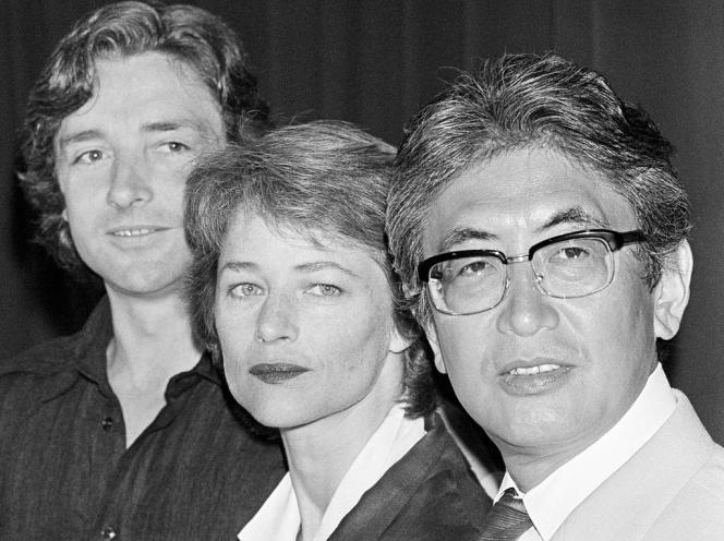 De gauche à droite : l'acteur Anthony Higgins, l'actrice Charlotte Rampling et le réalisateur Nagisa Oshima pour la présentation de