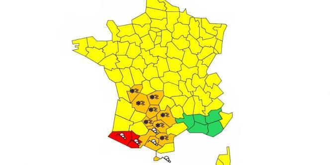 La carte de vigilance publiée par Météo France mardi 15 janvier après-midi.