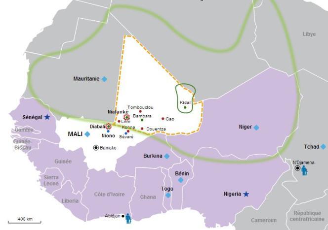 La carte des opérations militaires au Mali.