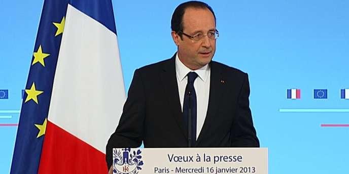 François Hollande lors de ses vœux à la presse le mercredi 16 janvier.