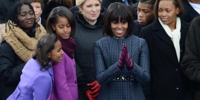 Sasha, Malia et Michelle Obama à la cérémonie d'investiture du président de la République à Washington.