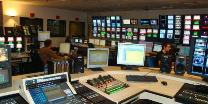 La régie de la chaîne d'information Euronews à Ecully, dans la banlieue de Lyon.