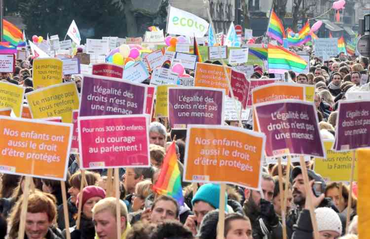 People take part in a demonstration for the legalisation of gay marriage and LGBT (lesbian, gay, bisexual, and transgender) parenting, in Paris on January 27, 2013, two days before a parliamentary debate on the government's controversial marriage equality bill, which will allow gay couples the same rights as their straight counterparts. AFP PHOTO /THOMAS SAMSON