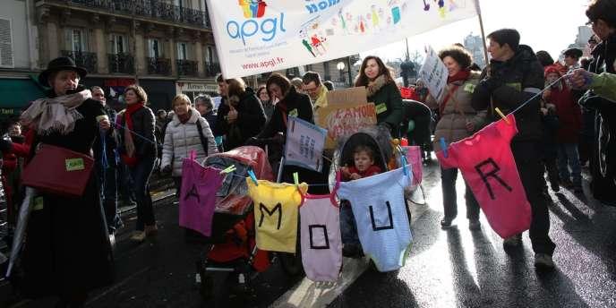 Manifestation en soutien au mariage homosexuel, dimanche 27 janvier à Paris.