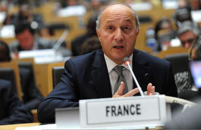 A Addis-Abeba (Ethiopie), mardi 29 janvier 2013, le ministre français des affaires étrangères Laurent Fabius lors de la conférence internationale des donateurs pour aider financièrement les forces africaines engagées au Mali.