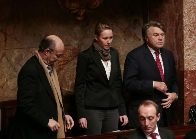 Jacques Bompard, Marion Maréchal-Le Pen et Gilbert Collard (de gauche à droite), le 16 janvier à l'Assemblée nationale.