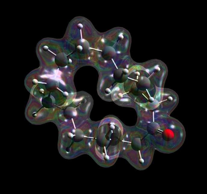 Représentation d'une molécule à l'odeur de musc dont la sensation olfactive change pour devenir