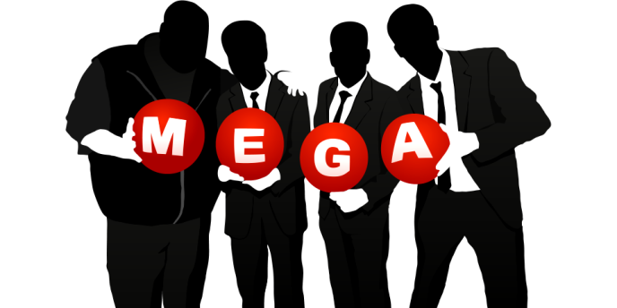 Une publicité de Mega, le service d'hébergement de fichiers lancé par Kim Dotcom.