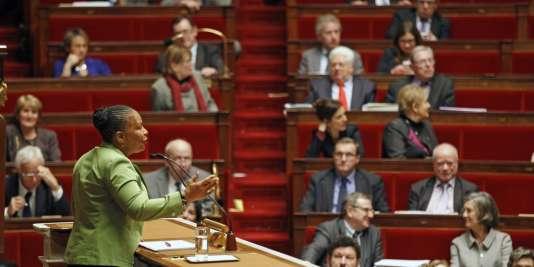 """Christiane Taubira, ministre de la justice, pendant les discussions sur le """"Mariage pour tous"""" à l'Assemblée le 29 janvier."""