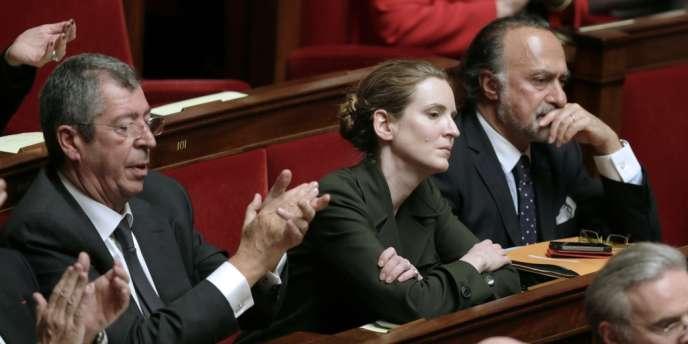 Nathalie Kosciusko-Morizet, aux côtés de Patrick Balkany (gauche) et d'Olivier Dassault, le 29 janvier 2013.