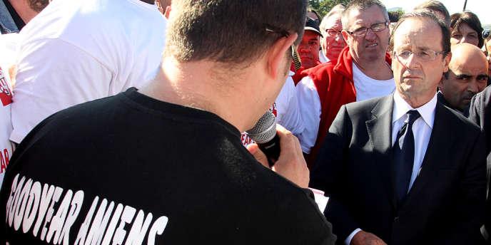 Alors candidat à l'élection présidentielle, François Hollande avait rencontré les salariés de Goodyear, à Amiens, le 14 octobre 2011.