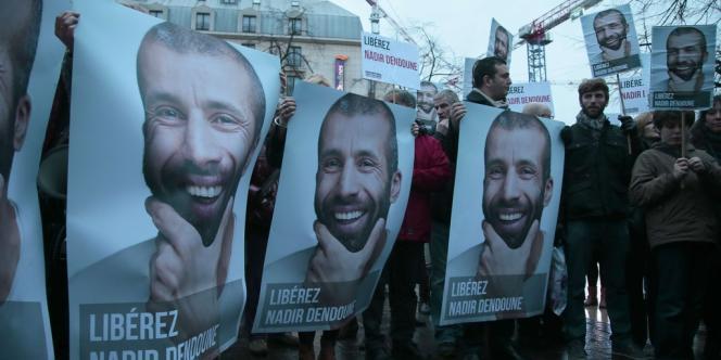 Manifestation de soutien à Nadir Dendoune, le 23 janvier à Paris.