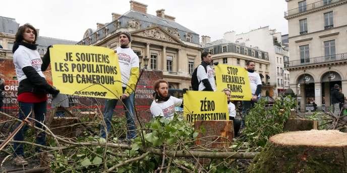 Des militants de Greenpeace protestent contre la déforestation au Cameroun, le 2 février devant le Palais royal, à paris.