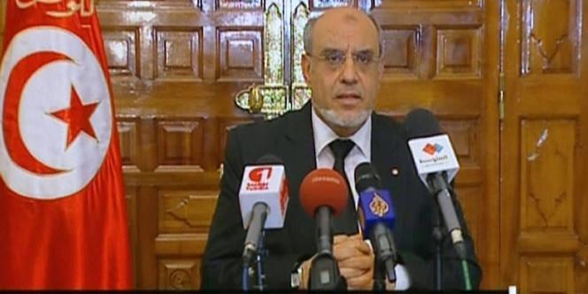 Le premier ministre tunisien, Hamadi Jebali, lors de son allocution télévisée du mercredi 6 février.