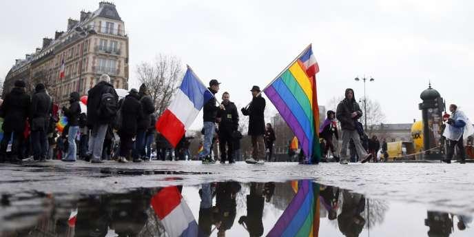 Dans la manifestation des partisans du mariage pour tous, à Paris, le 27 janvier.