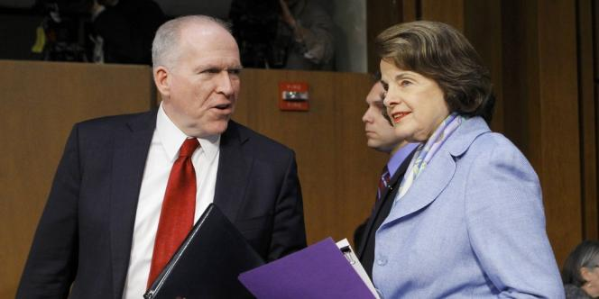 John Brennan en compagnie de Dianne Feinstein, le 7 février.