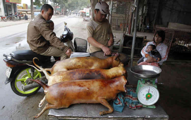 A vendor (C) cuts slaughtered dogs for sale at his roadside stall in Duong Noi village, outside Hanoi December 16, 2011. While animal rights activists have condemned eating dog meat as cruel treatment of the animals, it is still an accepted popular delicacy for some Vietnamese, as well in some other Asian countries. Duong Noi is well-known as a dog-meat village, where hundreds of dogs are killed each day for sale as popular traditional food. Dog-eating as a custom is rooted in Vietnam and was developed as a result of poverty. One kilogram of dog meat costs about 130,000 dongs ($6.2). REUTERS/Kham (VIETNAM - Tags: ANIMALS SOCIETY FOOD) - RTR2VBRO
