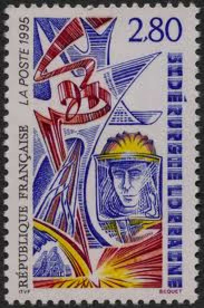 Timbre-poste français sur la sidérurgie lorraine émis en 1995. Dessin et gravure: Pierre Béquet.