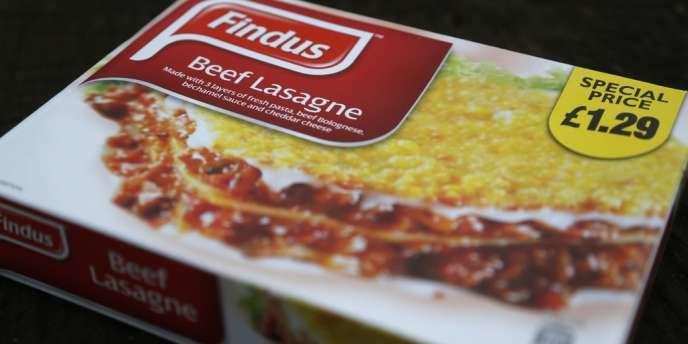 Une barquette de lasagnes surgelées Findus, au moment du scandale, début février 2013.
