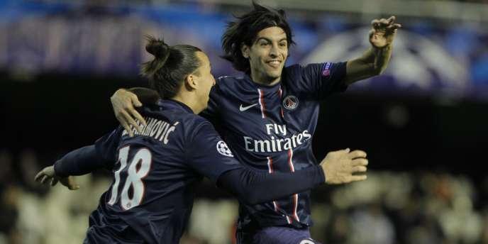 Les deux Argentins, Pastore et Lavezzi, ont marqué les deux buts de la victoire du PSG sur la pelouse de Valence en huitièmes de finale aller de la Ligue des champions (2-0).